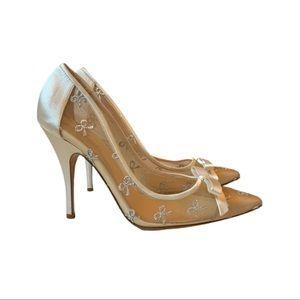 "Kate Spade Ivory ""Lisa"" Mesh Bow Heels"